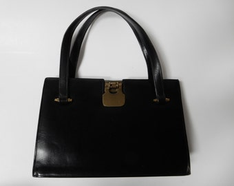 Italian Black Leather Handbag from 1960's