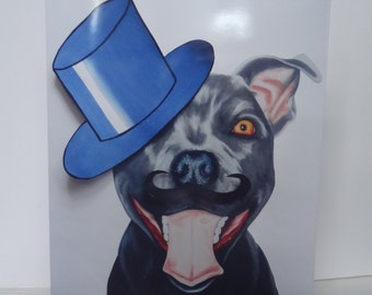 Greetings Card Print - Top Hat Happy Staffy