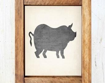 Pig Silhouette Print