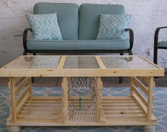 the mahogany stained lobster trap coffee tablemade in usa