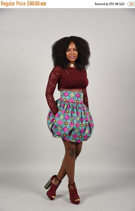 Clearance Tracy Baloon mini skirt African print -short skirt