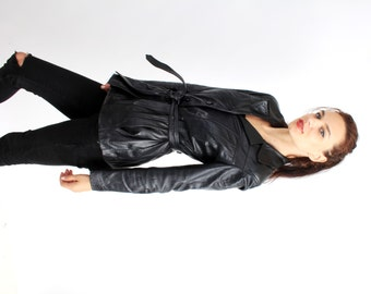 Vintage 80's Black Real Leather Buttoned Belted Skinny Jacket Size S / M