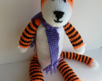 Hobbes the knitted tiger