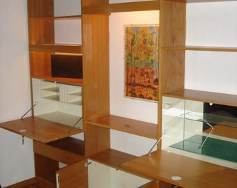 50s 60s Large Wall Shelving System incl. Cabinets, Beech Wood, Mid Century Modern, Germany