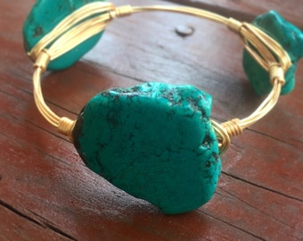 Shark Teal Magnesite Stone Wire Bangle