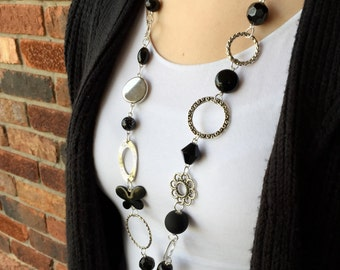 Black Butterfly and Silver Lanyard Necklace