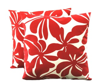 One Premier Prints Indoor/Outdoor red floral Pillow Covers, 18x18, cushion, decorative pillow, throw pillow