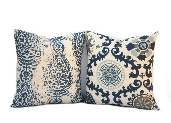 Indigo Blue Throw Pillow : TWO Indigo Blue Pillow covers Throw Pillow Navy Pillow Home
