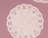 """5"""" White French Lace Paper Doily, 50 doilies, lace embellishment, card making, scrapbooking, wedding decor, packaging gift wrap"""