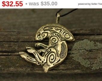 Discount! Rabbit Bunny bronze pendant necklace