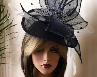 Navy blue fascinator. Formal hat. Kentucky Derby Royal Ascot, Del Mar open day fascinator. Couture hat