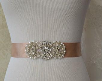 Champagne Satin Wedding Belt, Champagne Bridal Sash,Rhinestone Weddding  Sash