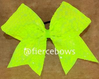 Neon Yellow Rain Sequin Cheer Bow
