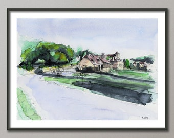 French village Painting, Watercolor, Poster France, Giclee print , Modern wall art