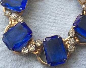 Vintage Bracelet with Deep Blue and Clear Rhinestones