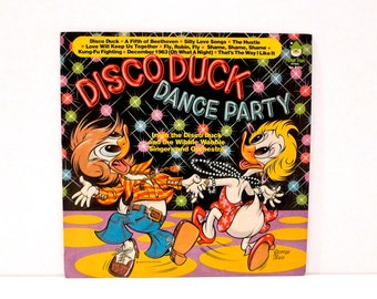 Disco Duck Dance Party Vintage Vinyl Childrens Record Peter Pan Silly Love Songs The Hustle Kung Fu Fighting Fly Robin Fly Comedy Gag Gift