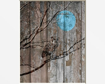 Rustic Brown Blue Owl Wall Art Photography, Owl On Branch Moon, Rustic Home Decor Matted Picture
