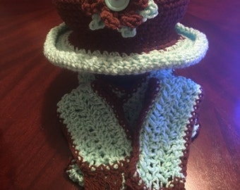 Little girls hat with matching scarf