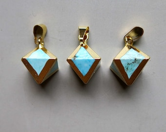 Octahedron shape Turquoise Pendant with Electroplated Gold Edge - B1352