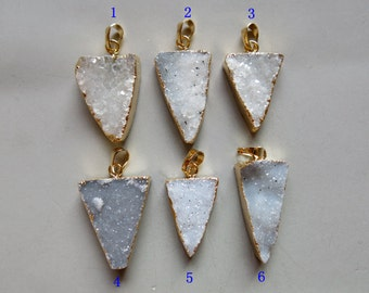Triangle Natural Druzy Pendant with Gold Edge - B1069