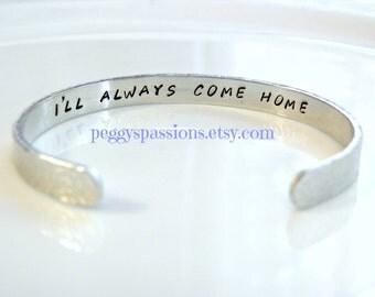 I'll always come home. Hidden message. Leo's & Correction Deputies. Thin Blue Line cuff bracelet.