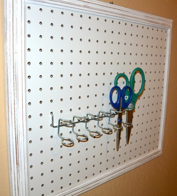 Framed Peg Board Pegboard Craft Storage Distressed White