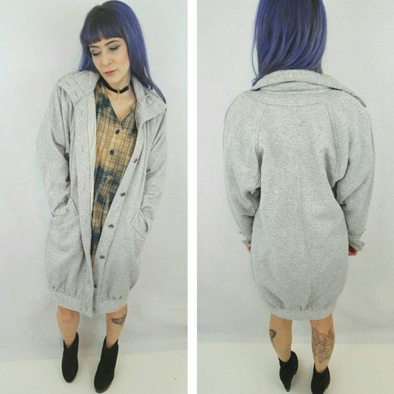 80's Slouchy Sweatshirt Hoodie Coat - Warm Gray Hooded Soft Sweat Shirt Jacket - Small Medium Grey 1980s Vintage Baggy Oversized Long Coat