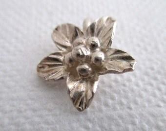 Small fine silver flower charm, Hilltribe silver, flower charm, silver flower charm