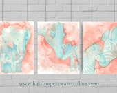 Aqua and Coral watercolor print collection. Set of three animal nursery prints including a giraffe, elephant and zebra