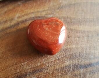 Red Wave Jasper Heart ~ one 30mm Reiki Infused gemstone heart