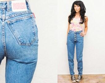 90s High Rise Waist  Blue Denim skinny Jeans / Button /  Pants / trousers / Cigarette Skinny Leg small  27 26