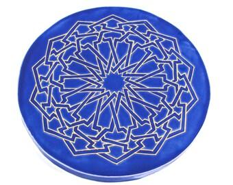 Third Eye Mandala - Blue and Gold Trivet - Moroccan Tile Trivet - Meditation Art - Sacred Geometry Mandala - Art Tile - Yoga Art