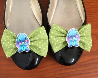 Stitch Inspired Green Polka Dot Shoe Bows, Shoe Clips, Experiment 626