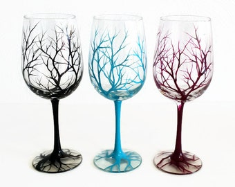 Bare Branches Hand Painted Tree Wine Glass Colorful Funky Stemware Organic Stylish Modern Kitchen Decor Unique Housewarming Wedding Gift