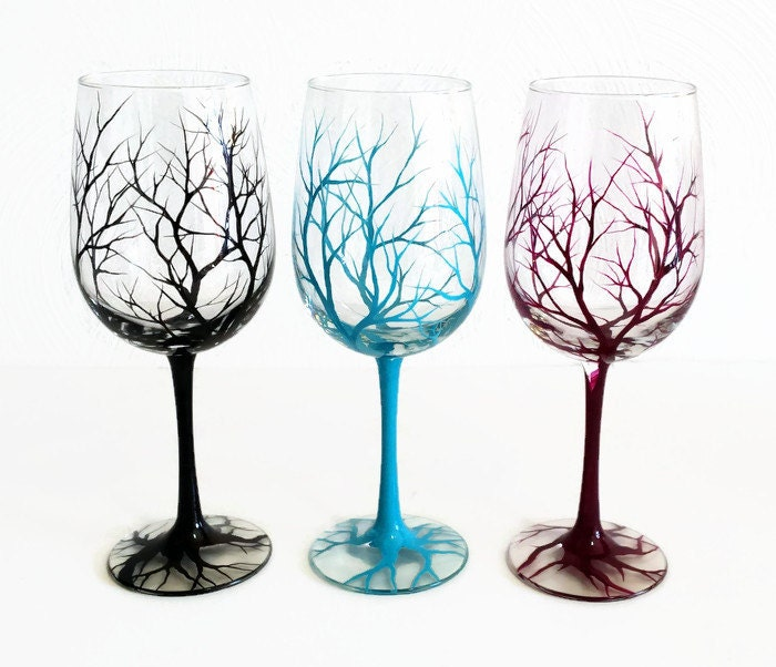 Bare Branches Hand Painted Tree Wine Glass Colorful Funky