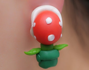 Super Mario Bros Earrings Stud Piranha Plant Yoshi Nintendo Red/Green HandMade Polymer Clay 3D Geek Video Game Gift her Woman Hipster Retro