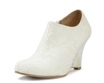 Snowbell White Lace Boot, White Bridal Boot, White Lace Boot, Ivory Lace Boot, Ivory Lace Wedge, White Bridal Wedge