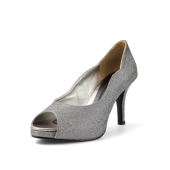 Items Similar To Jill Pewter Peep Toe Court Shoes, Pewter