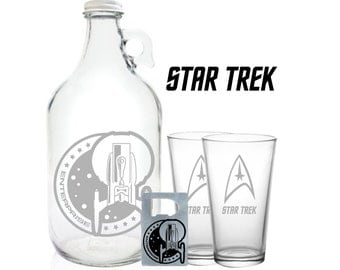 Star Trek Growler 64oz- Beer Growler with Star Trek Enterprise- Star Trek Gift