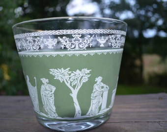 Vintage Jeanette Glass Jasperware Glass Ice Bucket Roman Scene