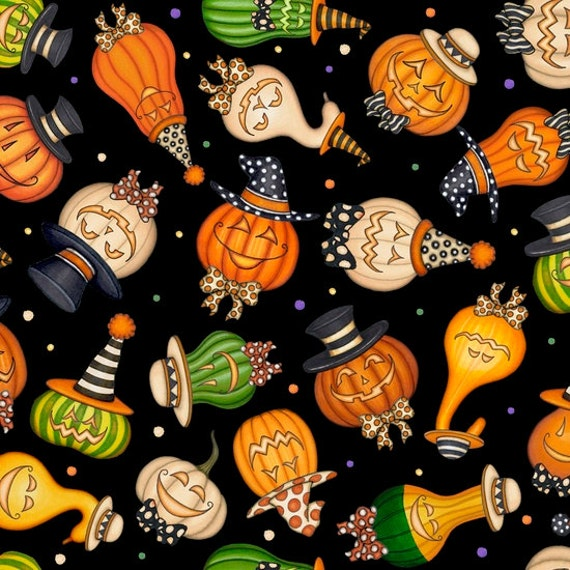 Creepy Hollow Halloween Fabric Jack O' Lantern Gourds Pumpkins