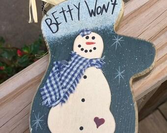 Christmas Wood Mitten Snowman Blue Green Betty Won't (melt).