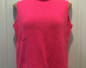 Hot Pink Knit Top, 1960s Bronson of California Hot Pink Knit Turtleneck Mod Shell