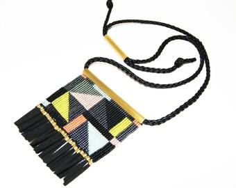 Loom Beaded Necklace Woven Pendant, Statement Piece, geometric pattern, ethnic necklace, ethnic beadwork jewelry