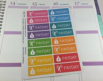 Pay Day Planner Stickers, Rainbow Sticker, Money, Payday, Cheque Day, Erin Condren, Plum Paper, MAMBI, planner accessory
