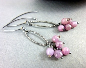 Pink Sapphire Earrings, Heart Chakra, September Birthstone, Sterling Silver Sapphire Chakra Earrings, Healing Crystals Chakra Energy Jewelry