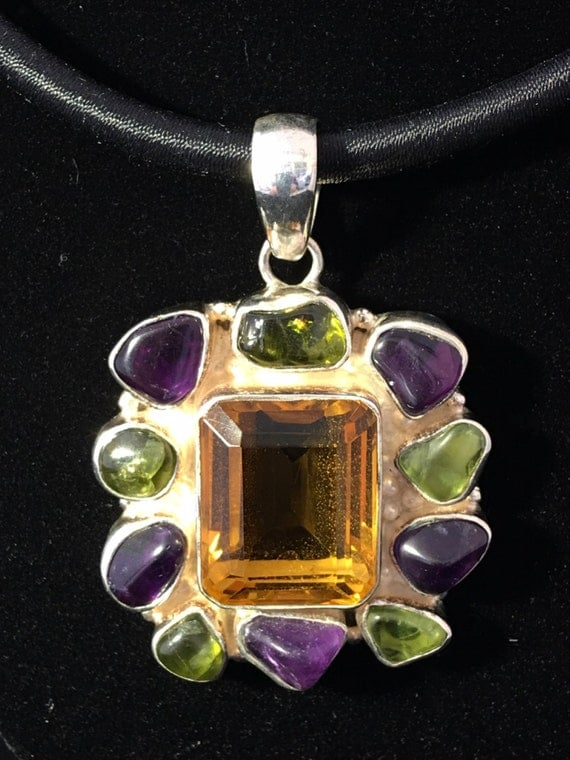Stunning Faceted Citrine ~ Amethyst ~ Peridot Pendant 925 Sterling Silver Pendant, comes with satin necklace. 2 inches long. Very unique!