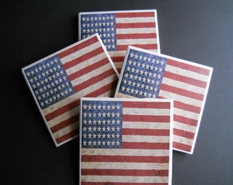 American Flag Coasters ~ Americana Decor ~ Primitive Home Decor ~ Patriotic Decor ~ Ceramic Tile Coasters ~ Rustic Decor ~ Country Rustic