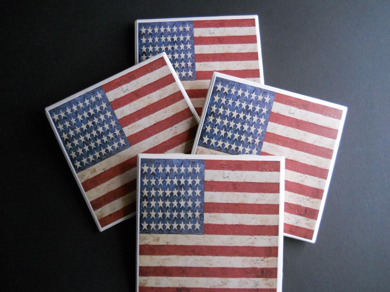American Flag Coasters Americana Decor Primitive Home Decor Patriotic Decor Ceramic Tile