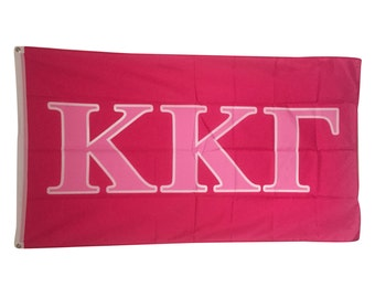 Kappa Kappa Gamma Dark Pink/Light Pink Letter Flag 3' x 5' kkg